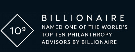 Named one of the world's top ten philanthropy advisors by Billionaire